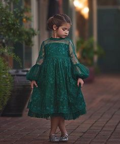 Loving this Emerald Floral Lace A-Line Dress - Infant, Toddler & Girls on #zulily! #zulilyfinds