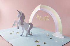 Pop-Up Card 'Unicorn' - faltmanufaktur-Tina Kraus Birthday Card Pop Up, Unicorn Birthday Cards, Homemade Birthday Cards, Homemade Greeting Cards, Origami Cards, Origami Templates, Box Templates, Pop Up Karten, Pop Book