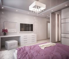 Elegant & Modern Purple & White Bedroom