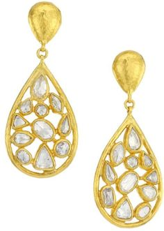Pointelle 24K Yellow Gold & Diamond Double-Drop Earrings