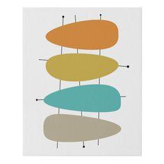 Orange Color Palettes, Modern Color Palette, Mid Century Modern Colors, Mid Century Art, Living Room Art, Modern Artwork, Custom Posters, Mid-century Modern, Modern Wall