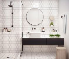 White bathroom ideas with white subway tile bathroom and floating vanity and sink plus shower room and round mirror bathroom for small bathroom decorating ideas Laundry In Bathroom, Bathroom Inspo, Bathroom Inspiration, Bathroom Ideas, Bathroom Designs, Mirror Bathroom, Bathroom Table, Bathroom Vanities, Bathroom Makeovers