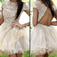 Short sleeve champagne sparkly open back sexy homecoming prom gown dre –…