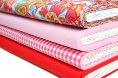Stenzo fabric in pink and red