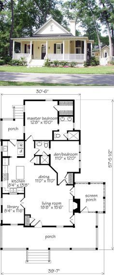 Banning Court ~ 1286sf, 58'x40'. 2 bdrms, 2 baths, 10-ft ceilings. Small pantry, laundry, small library, fireplace, screened side porch. Southern Living house plan SL-1254. Nearly identical to & 31sf larger than plan SL-1175. (Enclose rear porch, use extra space for mud room & storage.) #cottage #cabin