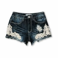 These high waisted shorts are made with a dark wash stretch denim construction for comfort and mobility, and have crochet detailing for a fashion-forward look.