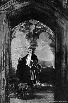 Bela Lugosi in Dracula. One of the best things about the classic Universal monster movies (other than the makeup) are the sets. Maybe not the most realistic ever but they set the tone of the movies. So beautiful and spooky. Gothic Horror, Retro Horror, Horror Icons, Arte Horror, Vintage Horror, Horror Art, Classic Monster Movies, Classic Horror Movies, Classic Monsters