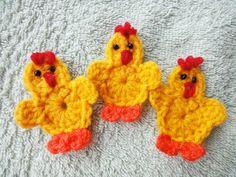 Цыплёнок за 20 минут Chicken for 20 minutes Crochet Crochet chicken applique, motif, fridgie