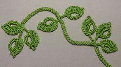 Вязание веточки листиков на шнуре гусеничка - урок вязания крючком -Croc...