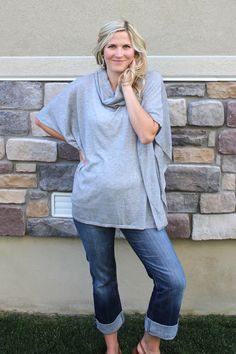 Staccato Tansy Cowl Neck Pullover Poncho. Would like to see in another color (red, blush-not army green), but ok with this color if only one available