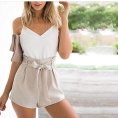 Stylish White Top With Beige Shorts & Matching Cluch
