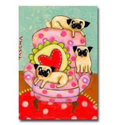 3 PUGS on a Chair ORIGINAL pug dog painting by TASCHA by tascha