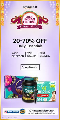 Amazon's Great Indian Festival sale is about to live to get ready to buy your best products at the cheapest price. this is the festival sale starts from 17th Oct and continues, you can save up to 80% on different category items. everybody is a winner in this festival fair sale that suites you. #Amazon #sale #Amazon great Indian sale #Amazon Indian festival sale #save on #big save on Amazon sale #ho to save on Amazon #what is Amazon sale #how to buy on Amazon sale #festival sale #Halloween…