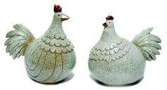 Ceramic Chicken Rooster Figures Country Home Decor Tan