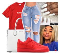 """"""""""" by kakoproduction ❤ liked on Polyvore featuring Champion, MICHAEL Michael Kors, NARS Cosmetics, NESSA, NIKE and red"""