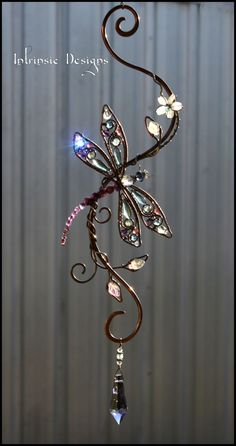 Dragonfly gemstone and crystal suncatcher by Cathy Heery from Intrinsic Designs