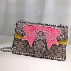Gucci GG/Suede Dionysus Small Shoulder Bag with Bow 400249 2018 ] : Real Bag Sale Gucci Handbags Sale, Gucci Bags, Designer Bags For Less, Designer Purses, Gucci 2018, Bow Bag, Dionysus, Small Shoulder Bag, Snakes