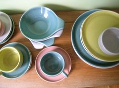 Want this mix and match set of Russel Wright for 4, $235 on Etsy