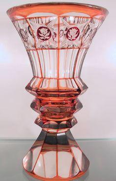 Bohemian Biedermeier ruby glass cut to clear pedestal beaker/vase