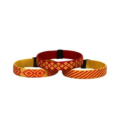 Third Time is the Charm - Cana Flecha Cuff Bracelets - Set of 3 - Yellow Tones - Colombia