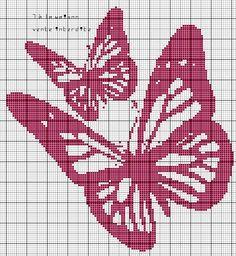 Cross stitch butterfly and chart. 7 à la maison Butterfly Cross Stitch, Crochet Butterfly, Cross Stitch Love, Beaded Cross Stitch, Cross Stitch Charts, Cross Stitch Embroidery, Cross Stitch Patterns, Graph Crochet, Crochet Cross