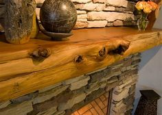 Creative Fireplace Mantel Decor That You Can Try : Rustic Wood and Stacked Stone Fireplace Mantels Decorating Ideas. Rustic Fireplace Decor, Reclaimed Wood Mantel, Stone Fireplace Mantel, Cabin Fireplace, Wood Mantle, Rustic Fireplaces, Fireplace Remodel, Fireplace Design, Rustic Wood