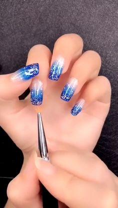 Simple nails art design video Tutorials Compilation Part 178 - Winter Nails Acrylic - Spring Nail Art, Winter Nail Art, Winter Nails, Summer Nails, Fall Nails, Nail Ideas For Winter, Cute Acrylic Nails, Cute Nail Art, Beautiful Nail Art
