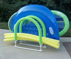 Simply Better Products - Inflatable Raft Holders - Sheffield Village, OH, great organizer for pool rafts and noodles! Pvc Pool, Pool Decks, Pool Fun, Pool Float Storage, Pool Organization, Pool Rafts, Pvc Pipe Projects, Pool Accessories, Pool Noodles