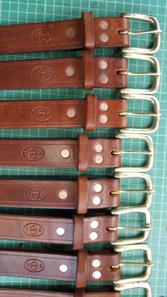 Some more oak bark tanned leather belts with traditional saddlers pure copper rivets. Tan Leather Belt, Pure Copper, Handmade Leather, Pure Products, Traditional, Accessories, Belts