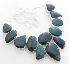 "FOREST JASPER GEMSTONE .925 SILVER JEWELRY NECKLACE SIZE 18"" #handmade #Necklace"
