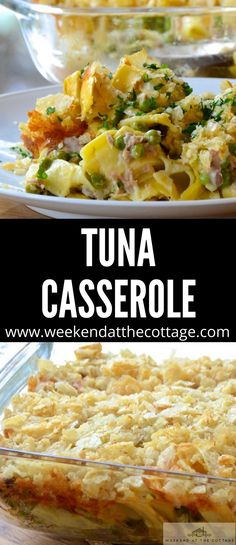Need a quick and easy dinner that the whole family will love. In this classic TUNA CASSEROLE recipe we've made our own sauce instead of using canned soup for a healthier version that won't break the bank! Tuna Casserole Recipes, Tuna Recipes, Casserole Dishes, Seafood Recipes, Cooking Recipes, Healthy Recipes, Tuna Casserole Healthy, Yummy Recipes, Salmon Recipes