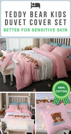 🌎 FREE Worldwide Shipping 🌎 On This Pink Teddy Bear Kid's Bedding Set ✔️ Cotton Fabric ✔️ Hypoallergenic Qualities ✔️ No Chemical Retention ✔️ Active Environmental Printing ✔️ Sensitive Skin Friendly Fabric Kids Bedding Sets, Cotton Bedding Sets, Beautiful Bedding Sets, Nature Architecture, Let's Have Fun, Bear Print, Natural Sleep, Cool Apartments, Duvet Cover Sets
