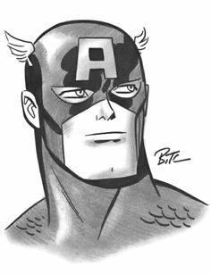 Captain America by Bruce Timm, in Raphael Loh's Convention Sketches Comic Art Gallery Room Bruce Timm, Comic Book Artists, Comic Artist, Comic Books Art, Captain America Sketch, Marvel Captain America, Harley Quinn, Western Comics, Batman