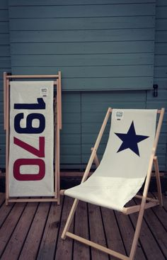 navy star deckchair in situ Garden Bunting, Wine Carrier, Devon Uk, Quirky Decor, Bolster Cushions, Sailing Outfit, Outdoor Chairs, Outdoor Decor, Take A Seat
