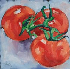 """""""Three of a Kind"""" - Original Fine Art for Sale - © Mary Anne Cary Summer Camp Art, Veggie Art, Vegetable Painting, Oil Painting For Beginners, Kitchen Artwork, Watercolor Fruit, Fruit Painting, Still Life Art, Fruit Art"""