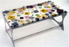 Scattered Fused Glass Center Table - The Scattered center table is designed and handcrafted by Renato Foti from fused glass and stainless steel. Custom crafted furniture, made to order.