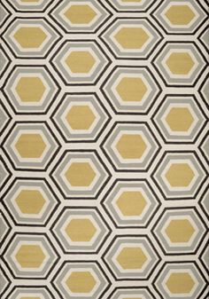 Area Rug With Yellow and Sky Gray Hexagons - $203.00 to $848.00