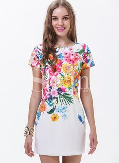White Short Sleeve Florals Print Dress 18.67