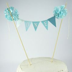 Cake banner smash cake  Turquoise ombre by Hartranftdesign on Etsy, $25.00