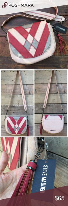 NWT Steve Madden Boho Saddle bag Brand new with tags attached, really awesome saddle bag by Steve Madden in a blush color with patchwork detail. Fringe tassel. Magnetic closure. Gorgeous!! Steve Madden Bags Crossbody Bags