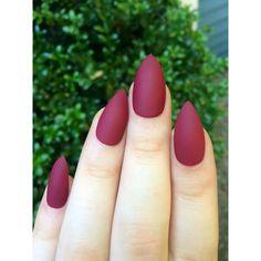 Matte nails, maroon nails, fake nails, stiletto nails ($11) ❤ liked on Polyvore featuring beauty products, nail care, nail treatments and nails