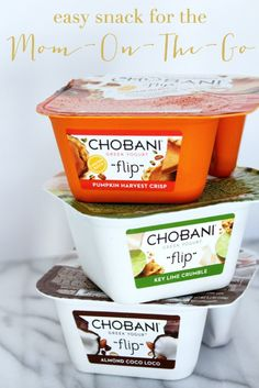 Easy snack for busy moms! Chobani Flip is a collection of sweet snacks that pair delicious Greek Yogurt with natural mix-ins.  Enjoy Coffee Break Bliss – low-fat yogurt with biscotti pieces and chocolate.  Or, a seasonal favorite Pumpkin Harvest Flip – Pumpkin low-fat yogurt paired with pie crust pieces, glazed pumpkin seeds and pecans.