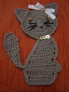 Crochet Applique cat pattern