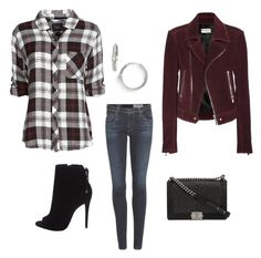 """""""Burgundy suede jacket - Casual"""" by brittjade ❤ liked on Polyvore featuring AG Adriano Goldschmied, Balenciaga, Rails, Bony Levy and Chanel"""