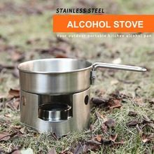Stainless Steel Stove Pocket Alcohol Stove Outdoor Cooking Camping Hiking