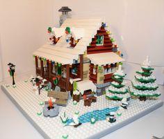 LEGO IDEAS - Product Ideas - Family Winter Cabin Lego Christmas Village, Lego Winter Village, Cabin Christmas, Lego Minecraft, Lego Design, Lego Harry Potter, Lego Disney, Lego Hacks, Casa Lego