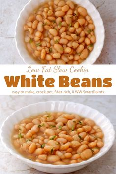 cup= 0 FS Make a big batch of these low fat Slow Cooker White Beans and then store them in small containers in the freezer to use in salads, soups, stews, pastas and dips! Small Slow Cooker, Healthy Slow Cooker, Slow Cooker Recipes, Crockpot Recipes, Hamburger Recipes, Baked White Beans Recipe, White Bean Recipes, Baked Beans, Ww Recipes