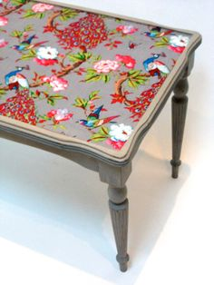 Victorian Meets The Orient Shabby Chic Upcycled Coffee Table With Colourful  Fabric And Grey Paint