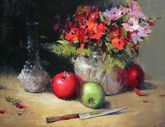 Pommes, verre, et des fleurs par Ann Hardy Oil ~ 20 x 16Pommes, verre et fleurs Huile sur toile de lin belge à bord 20 x 16 x 2 1,800.00 $ USD Disponible