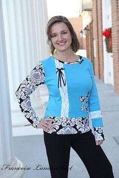 Women Damask Turquoise Patchwork Knit  T-shirt Custom Sizes S, M, L, XL, XXL, XXXL - Manoir